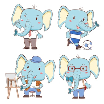 Set of cute cartoon elephants in different poses.