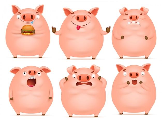 Set of cute cartoon emotional pink pig characters.
