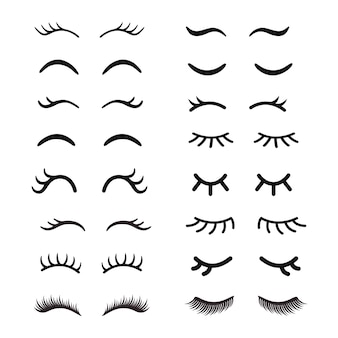 Set of cute cartoon eyelashes. open and closed hand drawing eyes.
