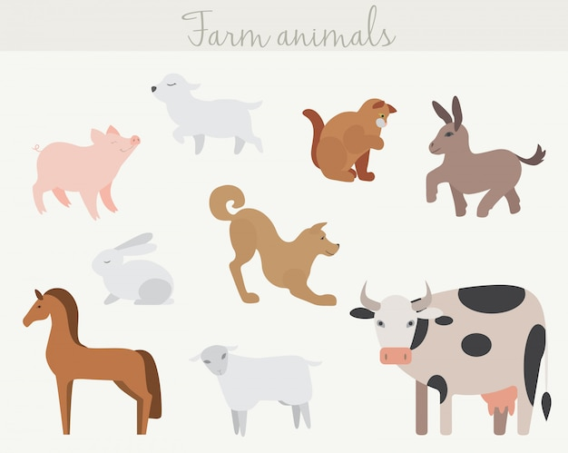 Set of cute cartoon farm animals.