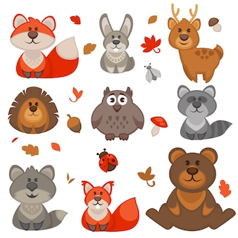 Set of cute cartoon forest animals.
