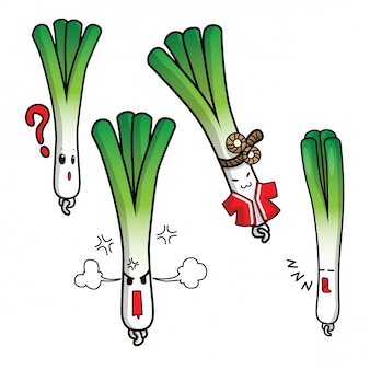 Set cute cartoon fresh scallion.