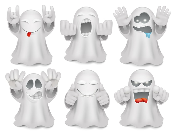 Set of cute cartoon ghost emoticon characters.
