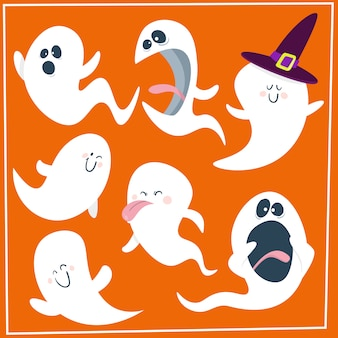 Set of cute cartoon ghosts