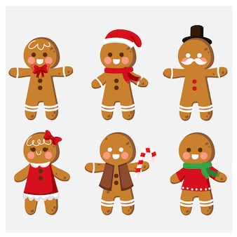 Set of cute cartoon gingerbread man cookies clip-art