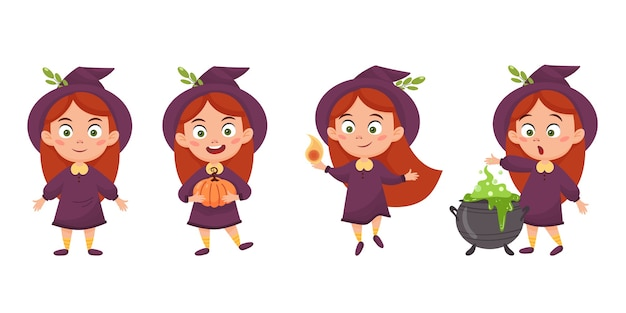 Set of cute cartoon girl witch. halloween illustration isolated on a white background.