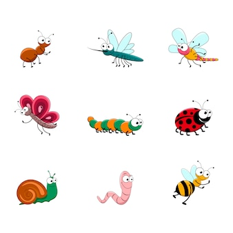 Set of cute cartoon insects.