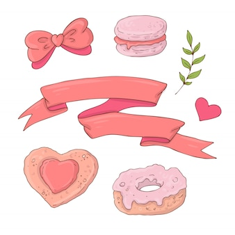 Set of cute cartoon items for valentine s day