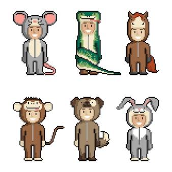 Set of cute cartoon kids in animal costumes.