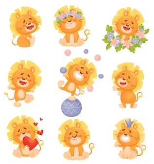 Set of cute cartoon lion cubs in colors