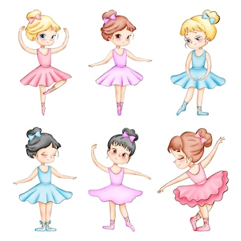 Set of cute cartoon little ballerinas watercolor illustrations