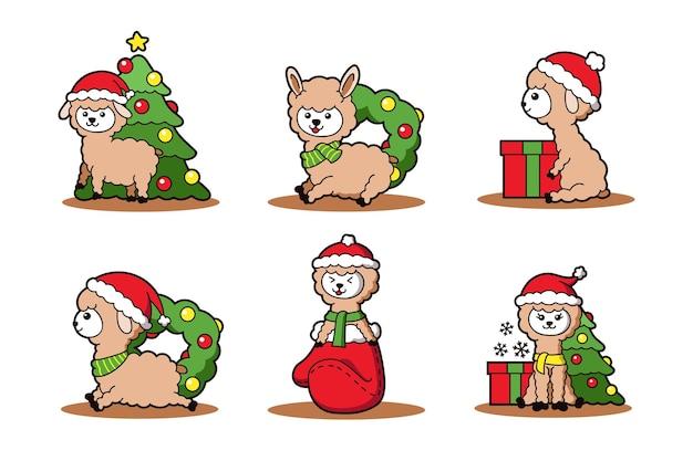 Set of cute cartoon llama for christmas holiday theme