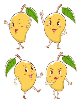 Set of cute cartoon mangoes in different poses.