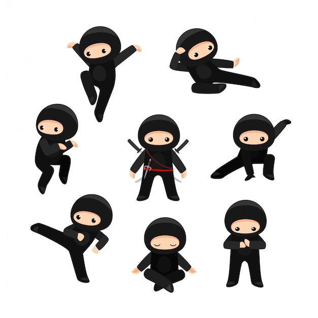Set of cute cartoon ninja in various poses.
