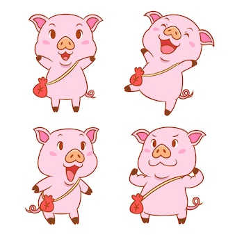 Set of cute cartoon pigs with red money bag.