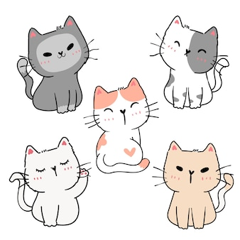 Set of cute cartoon playful kitten cat in different poses action element