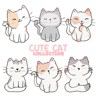 Set of cute cartoon playful kitten cat in different poses