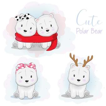 Set cute cartoon polar bear with ribbon, scarf and deer horn
