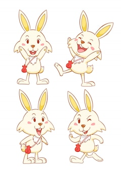 Set of cute cartoon rabbits with red money bag in different poses.
