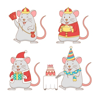 Set of cute cartoon rats for new year