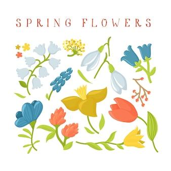 Set of cute cartoon spring wild flowers