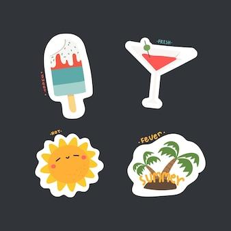 Set of cute cartoon summer icon