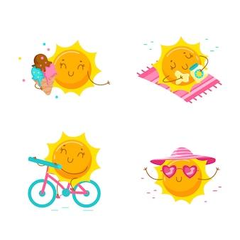 Set of cute cartoon sun characters