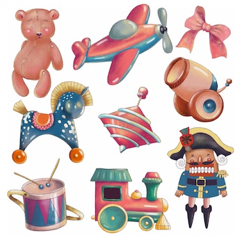 Set of cute cartoon vintage toys