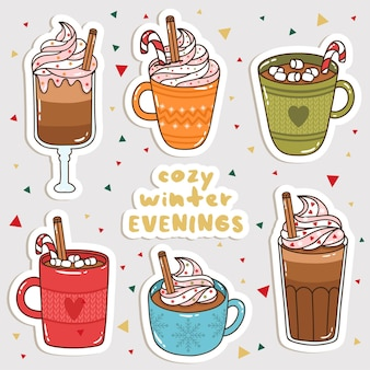 Set of cute cartoon winter drinks stickers. cute stickers, patches or pins collection.