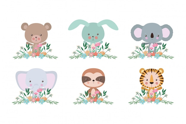 Set of cute cartoons set