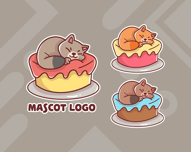 Set of cute cat cake mascot logo with optional appearance.