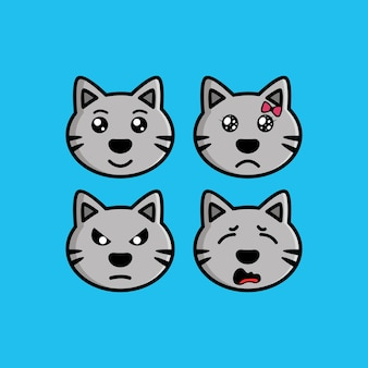Set cute cat cartoon head character with different expression vector illustration