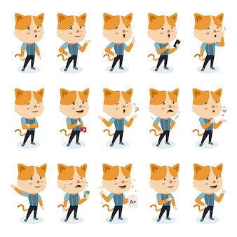 Set cute cat character with different poses in flat design style