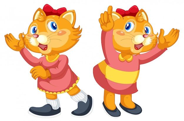 Set of cute cat character