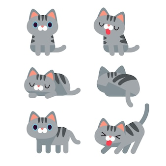 Set of cute cat characters in different action poses isolated on white background.
