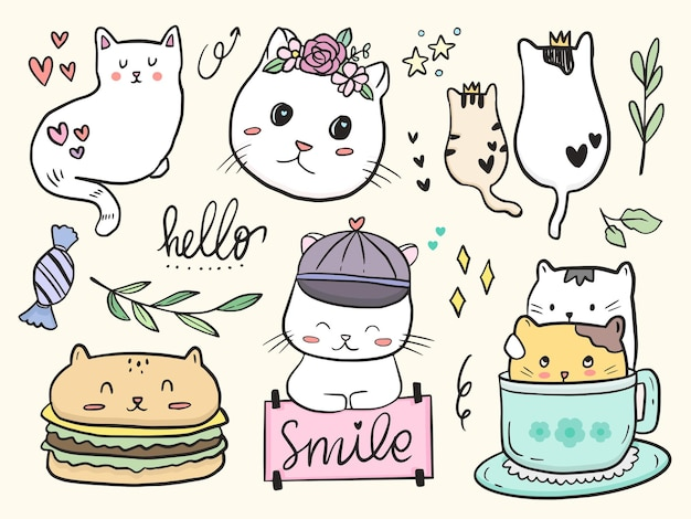 Set of cute cat couple doodle drawing cartoon for kids coloring and print
