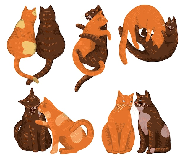 Set of cute cat couples in love. hand drawn vector illustration. romantic animal collection. st. valentine's holiday elements. cartoon drawings isolated on white.