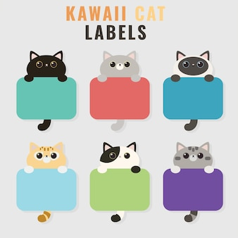 Set of cute cat illustration tags or labels cartoon style
