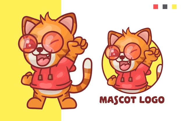 Set of cute cat mascot logo with optional appearance.