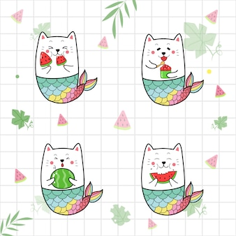 Set of cute cat mermaid eating water melon