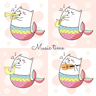 Set of cute cat mermaid playing musical instrument