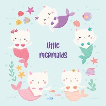 Set of cute cat mermaids vector