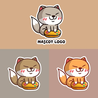 Set of cute cat play game mascot logo with optional apprearance.