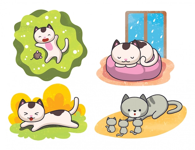 Set of cute cat poses  illustration