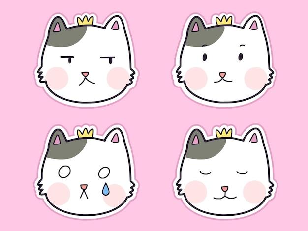 Set of cute cat sticker cartoon illustration set