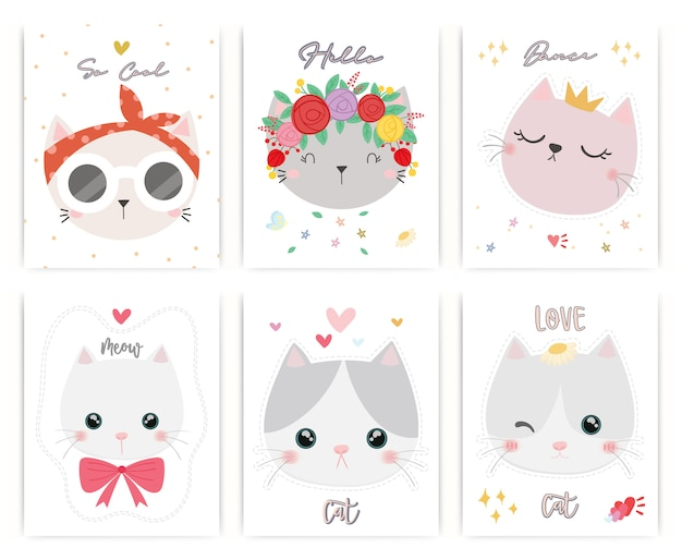 Set of cute cat vector.