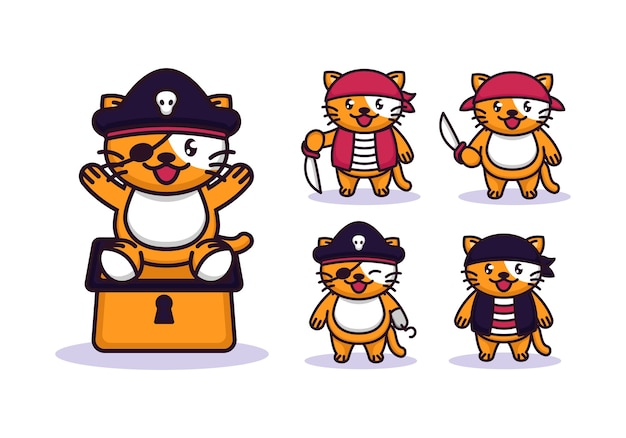 Set of cute cat with pirates costume