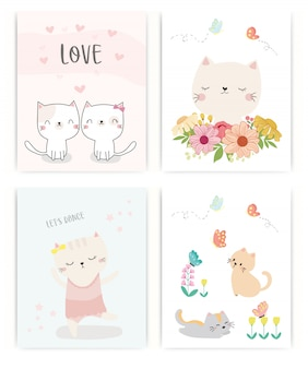 Set of cute cat.