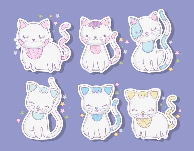 Set cute cats animals with whiskers