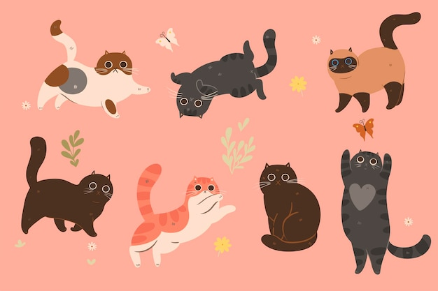 A set of cute cats in different colors.